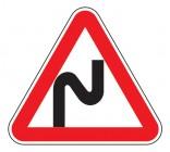 Дорожный знак 1.12.1 Опасный поворот