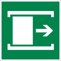 Знак безопасности «Для открывания сдвинуть»
