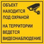 Знак безопасности «Табличка на въезде КПП - Объект находится под охраной. На территории ведется видеонаблюдение»