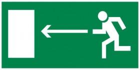 Знак безопасности «Направление к эвакуационному выходу налево»
