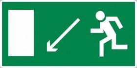 Знак безопасности «Направление к эвакуационному выходу налево вниз»