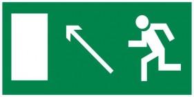 Знак безопасности «Направление к эвакуационному выходу налево вверх»