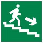 Знак безопасности «Направление к эвакуационному выходу по лестнице вниз (левосторонний)»