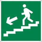 Знак безопасности «Направление к эвакуационному выходу по лестнице вниз (правосторонний)»