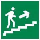 Знак безопасности «Направление к эвакуационному выходу по лестнице вверх (левосторонний)»