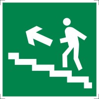 Знак безопасности «Направление к эвакуационному выходу по лестнице вверх (правосторонний)»