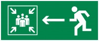 Знак безопасности «Направление к месту сбора при ЧС налево»