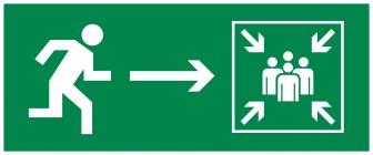 Знак безопасности «Направление к месту сбора при ЧС направо»