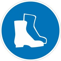 Знак безопасности «Работать в защитной обуви»