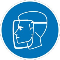Знак безопасности «Работать в защитном щитке»