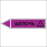 Знак безопасности «Щелочь - направление движение налево»
