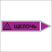 Знак безопасности «Щелочь - направление движение направо»