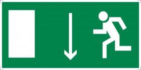 Знак безопасности «Указатель двери эвакуационного выхода (левосторонний)»