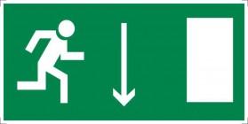 Знак безопасности «Указатель двери эвакуационного выхода (правосторонний)»