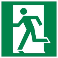 Знак безопасности «Выход здесь (левосторонний)»