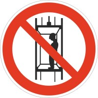 Знак безопасности Запрещается подъем (спуск) людей по шахтному стволу