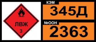 Знак опасности. Табличка номер опасности и номер ООН (OON345Д-2363) (Знак кода номера ООН)